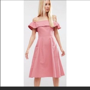 ASOS coral pink off the shoulder midi dress